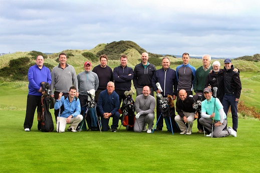 REPRO FREE 04/10/2018, Coleraine – Golfers across Great Britain – and potential golf holidaymakers for Northern Ireland – are set to read or hear all about our world-class golf links, following a visit by leading GB golf journalists from top media outlets like Eurosport, Golf Monthly, Country Life and The Daily Telegraph. The journalists – who are here as guests of Tourism Ireland and Tourism NI – have a combined audience of around 14 million. They tested their skills on next year's venue for The 148th Open, when they played Royal Portrush. They also played at Portstewart and Castlerock and paid a visit to Galgorm Castle and the Giant's Causeway.  PIC SHOWS: Joe Cruise, Tourism Ireland (left), with the golf journalists on the first tee at Castlerock Golf Club.  Pic – Paul Nash (no repro fee) Further press info – Clair Balmer / Elaine Moore, Tourism Ireland 07766 527719